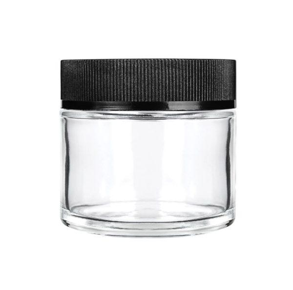 2oz Child Resistant Glass Jars with Black Caps